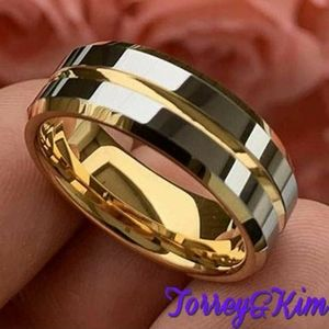 6MM / 8MM Yellow Gold Tungsten Wedding Band